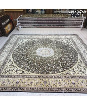 فرش دستباف مربع 3*3 سرمه ای شیخ صفی اصفهان دایره و مربع