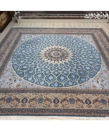 فرش دستباف مربع 3*3 شیخ صفی اصفهان دایره و مربع