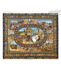 HAND MADE TABLEAU RUG PERSIAN KINGS DESIGN TABRIZ,IRAN
