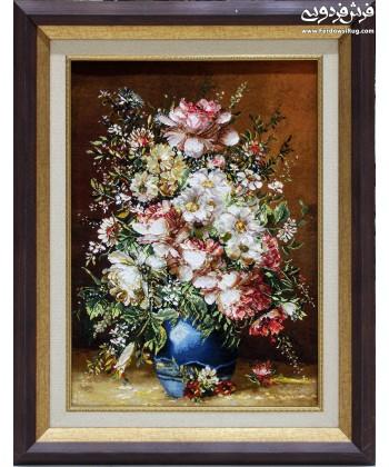 تابلو فرش دستباف گلدان سفالی تبریز تابلوفرش