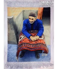 HAND MADE TABLEAU CARPET old man DESIGN TABRIZ,IRAN