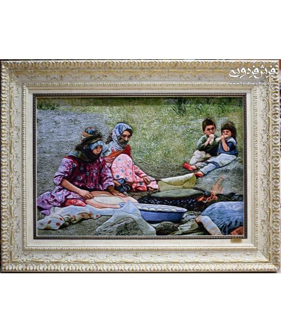 تابلو فرش دستباف روستایی نان پز تبریز