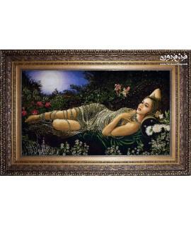 تابلو فرش دستباف دختر جواهر فروش کوچک تبریز تابلوفرش