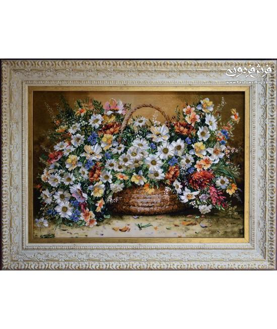 تابلو فرش دستباف گل بابونه تبریز